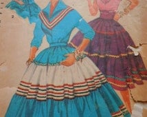 "Vintage 50's  Simplicity  #4916 Sewing Pattern Women's Costume Southwestern (Squaw) Square Dance Dress Bust 32"" Complete"