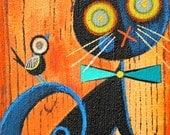 Harlequin FRaiDy Cat Halloween original painting (#1) 5x7 inch by Melissa Belanger EHAG