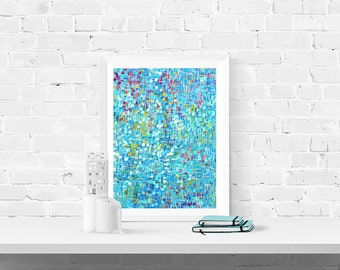 Blue Print - Blue Abstract Wall Art Print - Blue Fine Art Print - Pastel Blue & White Abstract Mosaic Wall Art Print by Louise Mead