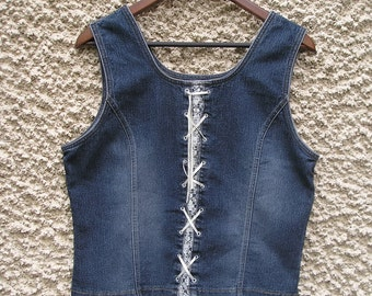 Vintage blue denim corset top, L-XL