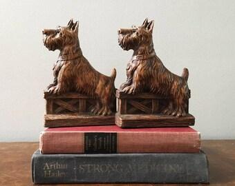 Vintage Scottish Terrier Dog Bookends