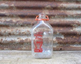 Vintage Glass Milk Bottle Dairy 1/2 Gallon Fluid Jar Rolling Acres Jerome Pa Farm Applied Red Label PA Pennsylvania vtg Glass Milk Jar
