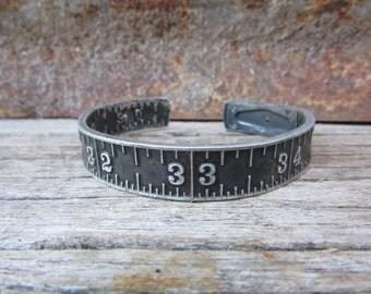 Antique Stanley Folding Ruler Bracelet Aluminum Metal Bangle Style Cuff Jewelry Industrial Black & Silver Metal Bracelet Steampunk Vintage