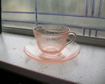 Pink Depression Glass Cup and Saucer American Sweetheart Vintage 1930s