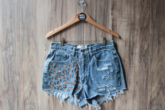 Cheetah Leopard Print Denim Shorts Hand Painted Vintage Distressed High Waisted Denim Upcycled