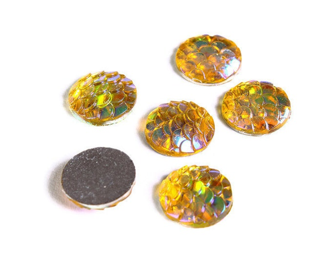 12mm Yellow gold AB cabochon - Mermaid cabochon - Fish scale cab - Dragon scale cabochon - Snake Skin cabochons (1540) - Flat rate shipping