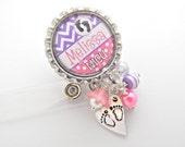 NICU Nurse Personalized Id Badge Reel, RN, Np, Lpn, Lmt, Jewelry, Rn, Bsn Chevron Lanyard Holder Pull Id Clip, Labor and Delivery Nurse