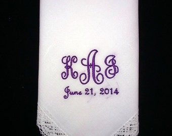 Personalized Hankie with Initials and Date Wedding Gift