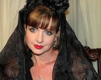 MISS TUFFETS REVENGE Black Spiders Headdress Hair Adornment ooak
