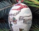 Hand Painted Christmas Ornament, winter farm scene