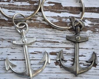 Set of 2 anchor keychains, nautical keychain, anchor keychain, sailor's keychain, captains keychain, beachcombers keychain, choice of finish