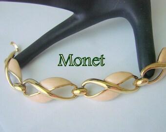 Monet Coral Enamel Goldtone Link Bracelet / Retro / Designer Signed / Vintage / Jewelry / Jewellery