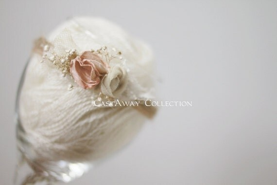 Newborn Photo Prop - Newborn Headband: Newborn Tieback, Newborn Flower Crown, Newborn Halo, Organic Photography Props, Natural, Peach, Pink
