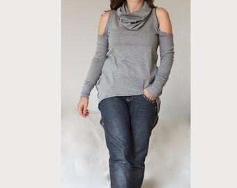 Cut Out Shoulders Top Polo Sweater Open Shoulder Sweater Asymmetric Hi Low Sweater Oversize Sweater Turtleneckline Sweater Plus Size Sweater
