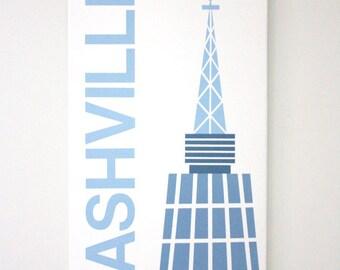 "Nashville - 12"" x 24"" Handpainted on Canvas in Blue"