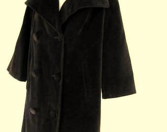 Vintage Black Velvet Coat Mid-Century Jacket Women's Medium / Large
