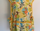 Hummingbird Apron in Yellow, Blue, Lime Green, Cobbler Apron, Over the Head Apron, Full Coverage Apron