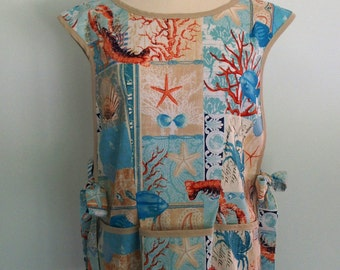 Blue Cobbler Apron, Nautical Apron, Over the Head Apron, Michael Miller By the Sea Fabric