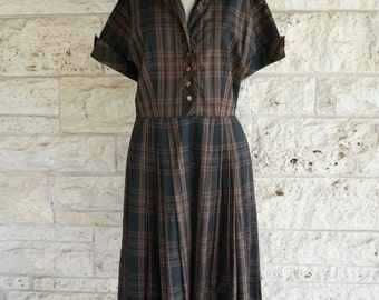 Medium 50's Dress Brown Plaid Plaid Dress Possibly 40's Dress MacArthur LTD Vintage Dress Size 8 50's Medium Mid Century Casual Dress