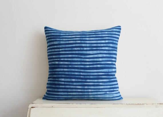 "Indigo Shibori pillow cushion cover 20"" x 20"""