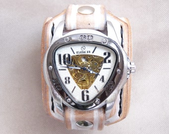 White Leather Watch, Distressed Wrist Watch, Bracelet Watch, Vintage Wrist Watch, Leather Jewelry