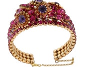 Austria Rhinestone Floral Cuff Bracelet Earring Set