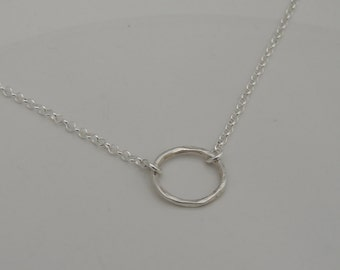 Simple Open Ring Necklace - Sterling Silver - Dainty Necklace - Bridesmaid Necklace - Circle Necklace