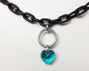 Crystal Heart Choker, Black Choker Necklace, Emerald Black Chain Crystal Choker, Charm Choker