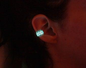 Silver Ear clip GLOW in the DARK