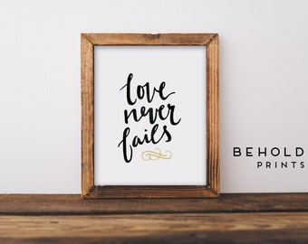 Scripture Wall Art, Love Never Fails, Dorm Wall Art, Bible Quotes, Scripture Print, Christian Wall Art,Hand Lettered Truth,Calligraphy Print