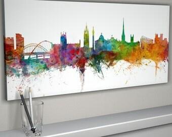 Newcastle Skyline Canvas, Newcastle Cityscape Canvas Art Print (991)