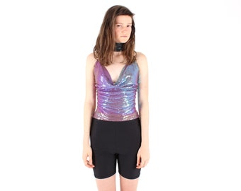 90s CHAIN MAIL / GLOMESH / Chainmail Holographic Metallic Club Kid Purple Backless 70s Style Disco Top