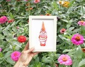 Rose Gold Foil GNOME ART Garden Print