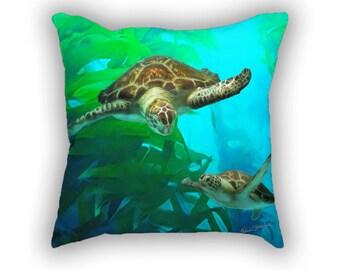 Sea Turtle Snuggly Soft PILLOW, Sea Turtles, Turtle Art, Turtle Pillow, Beach Decor, Ocean Art, Coastal, Coastal Decor, Sea Turtle Art