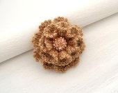 Crochet Brooch - Beige Rose Brooch - Corsage Brooch Pin - Fluffy Brooch - Autumn - Christmas Ocasion Party Brooch
