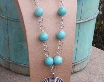 Southwestern Turquoise Necklace with Silver Spiral...Country Boho Collection...Western Jewelry. Right Now FREE US SHIPPING!