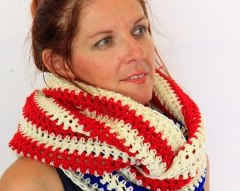 Infinity scarf, red white blue scarf, striped scarf, eternity scarf, Calypso Stripes, winter fashion vegan friendly, ready to ship