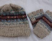 Fairisle Knitted Hat and Fingerless Gloves Set
