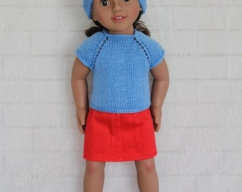"""Blue Knitted Top Blue Hat & Red Skirt Dolls Clothes to fit 20 inch dolls such as 20"""" Australian Girl dolls"""