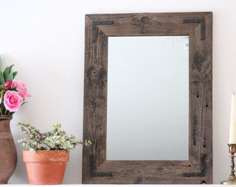 Rustic Wall Mirror - Wall Mirror - 18 x 24 Vanity Mirror - Bathroom Mirror - Rustic Mirror - Reclaimed Wood Mirror - Bathroom Vanity