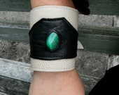 Chrysoprase Leather Cuff Unisex Black and Sand Recycled Leather Wristband by AriomDesigns