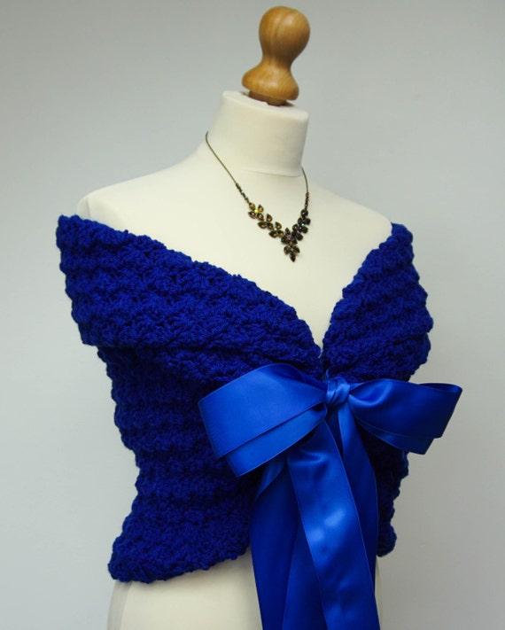 Rustic Wedding Wrap, Bridal Cape, Shawl Wrap, Bridal Cover Up, Romantic Wedding Dress Cover Up, Royal Blue Shawl Wrap, Something Blue Bolero