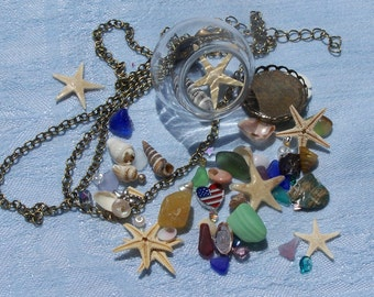 "Glass Beach Ball Necklace, REAL starfish,sea glass,shells, teeny sand dollar, 1 1/4"" glass ball , 3 charms, 24""+2"", *Offers Welcome*  31.00"