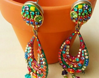 Victorian Chandelier Earrings, Crystal Earrings, Chandelier Earrings, Red & Orange Crystal Chandelier Earrings, Dangle Earrings, Renaissance