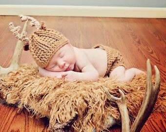 Baby Deer Antler Crochet hat - Whitetail Baby Deer hat - Newborn Antler Hat - Newborn photo prop - HAT ONLY
