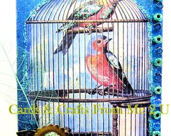 Small Magenet with Two Birds in Cage, Mini Magnet, Skeleton Leaf, Glass Beads, Wood Magnet, Metal Flower, Pretty Glitter