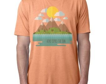 Mountains Shirt   Here Comes The Sun   Men's T-shirt   Graphic Tee   Hiking Shirt   Camping Shirt   Adventure Shirt   Beatles Tshirt  