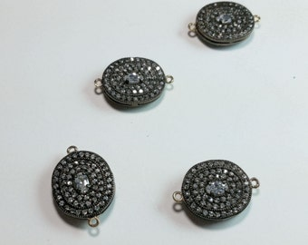 Oxidized Rhodium Plated Gold Filled Cubic Zircon Oval Bezel Charm Beads Findings 20mm