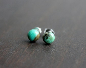 Turquoise Stud Earrings, Surgical Steel Stud Earrings, Stainless Steel, Turquoise Studs, Turquoise Earrings, Gemstone Stud Earrings, 1 Pair