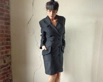80s tuxedo dress/ black suit midi dress// med